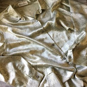 Burberry Tops - Burberry Silk Snakeskin Button Down